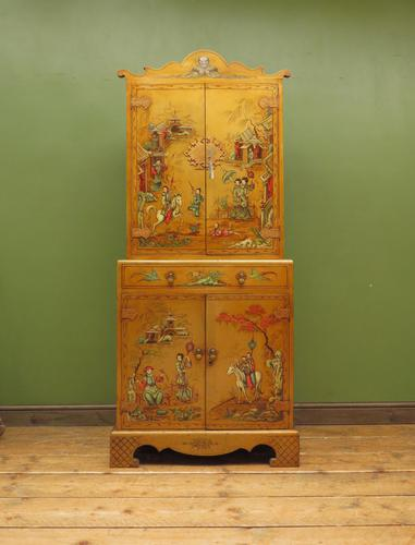 Antique Art Deco Chinese Painted Cabinet, Ornate Gold Decoration, Signed (1 of 28)