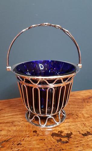 Antique Solid Silver & Bristol Blue Glass Basket (1 of 6)