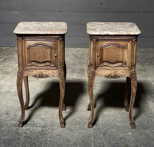Pair of French Marble Top Bedside Cupboards (1 of 26)