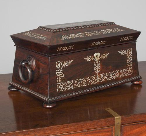 George IV Rosewood & Mother of Pearl Tea Caddy (1 of 11)