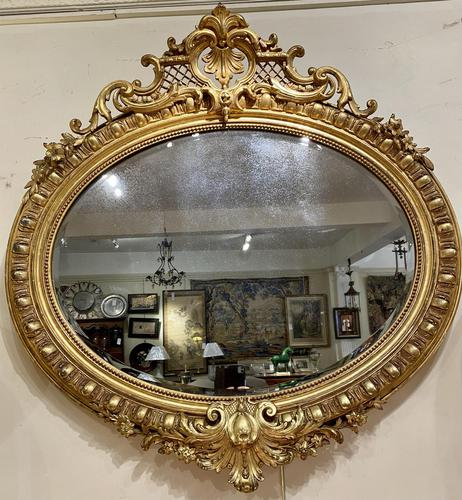 Large Gilt Oval Mirror (1 of 8)