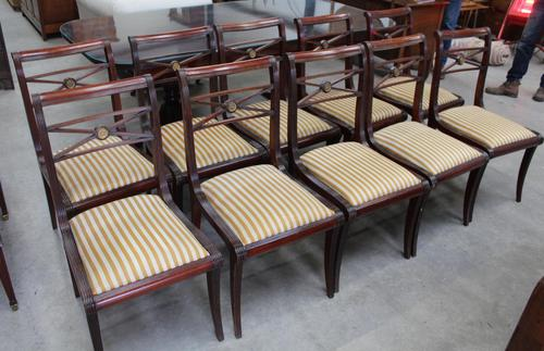 1960s -Set 10 Mahogany Sabre Leg Dining Chairs with Pop out Seats (1 of 3)