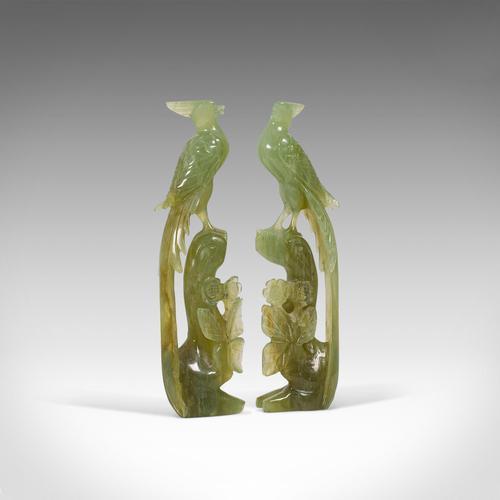 Pair of, Antique Carved Figures, Oriental, Jade, Bird of Paradise, Victorian (1 of 12)