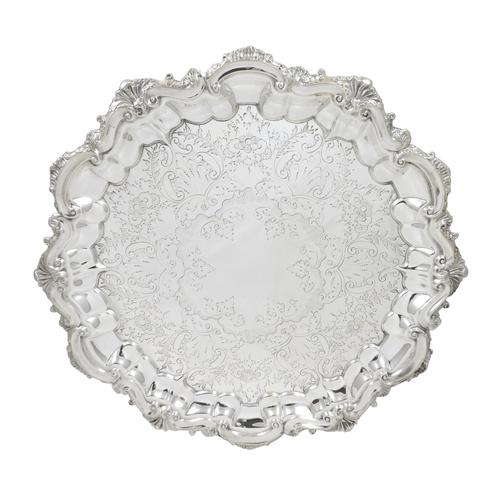 """Antique Victorian Sterling Silver 11"""" Tray / Salver 1898 (1 of 9)"""