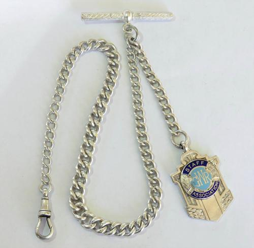 Single Silver Pocket Watch Chain & GWR Fob (1 of 3)