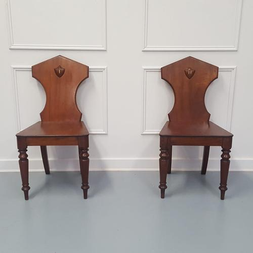 Pair of  Antique Engraved Hall Chairs C1850 (1 of 6)