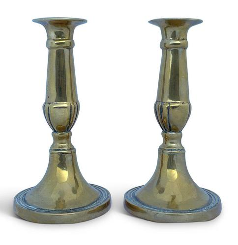 Late 18th Century Pair of George III Brass Candlesticks (1 of 3)