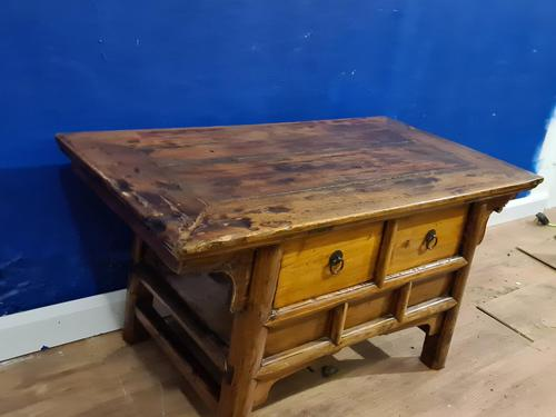 Chinese 19th Century Elm Altar Prayer Coffee Table 'Qing Dynasty' (1 of 8)