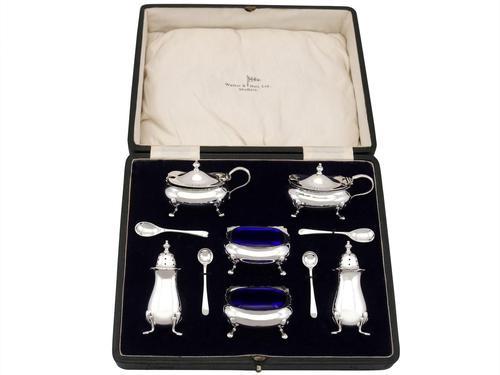 Sterling Silver Condiment Set - Antique George V (1929) (1 of 12)