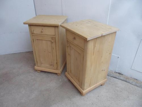 Lovely Pair of Antique Pine Victorian Bedside Cabinets to wax / paint (1 of 9)