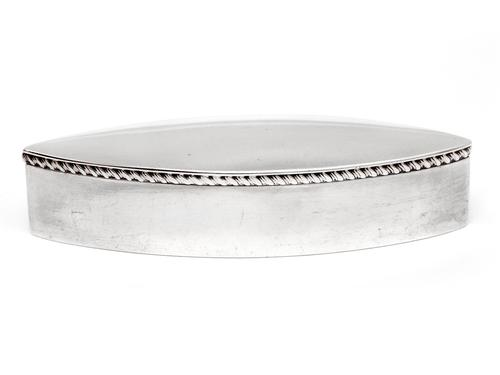 Oval Silver Trinket or Jewellery Box with a Hinged Lid and Gadroon Border (1 of 6)