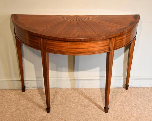 Demi Lune Console Table Sheraton Revival Sunburst Design (1 of 6)