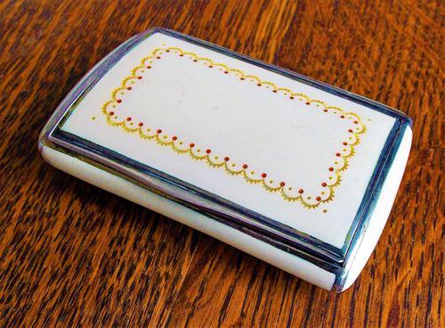 Quality Austrian Solid Silver & Enamel with Gold & Ruby Leaf Design Snuff Box (1 of 12)
