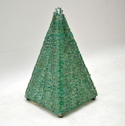1960's Vintage French Glass Pyramid Table Lamp (1 of 6)