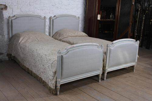 Pretty pair of large single newly upholstered beds (1 of 7)