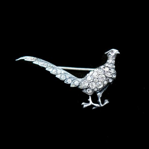 Antique Pheasant Bird Paste Sterling Silver Brooch Pin (1 of 7)