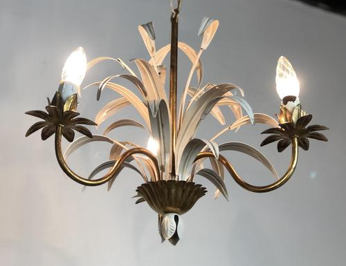 Vintage French 3 Arm Petite Toleware Ceiling Light Chandelier (1 of 11)