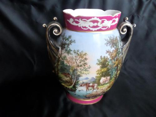 Large Vase Depicting Pastoral Scene with Cattle etc (1 of 6)