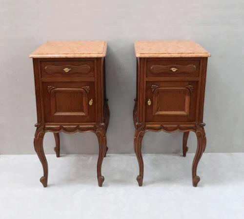 Pair of Early 20th Century Continental Oak Bedside Cabinets (1 of 8)