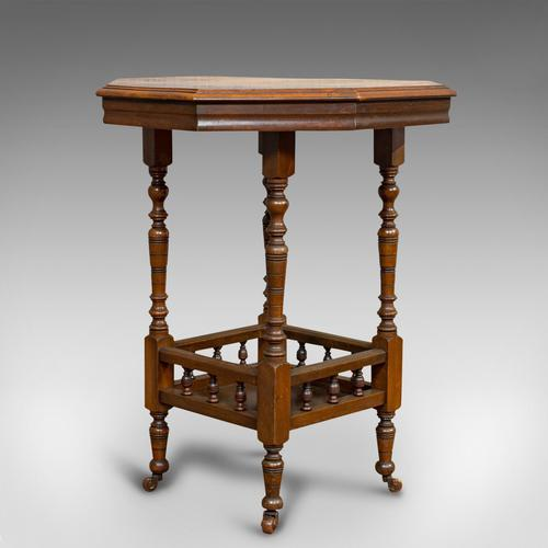Antique Lamp Table, English, Walnut, Octagonal, Side, Games, Edwardian c.1910 (1 of 10)