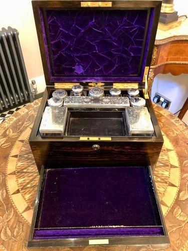 Antique Coromandel Dressing Box With Bottles, Bramah Lock, Secret Drawer (1 of 10)