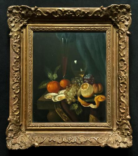 Fine Original 19thc Antique Spanish Fruit Wine & Oyster Still Life Oil Painting (1 of 13)