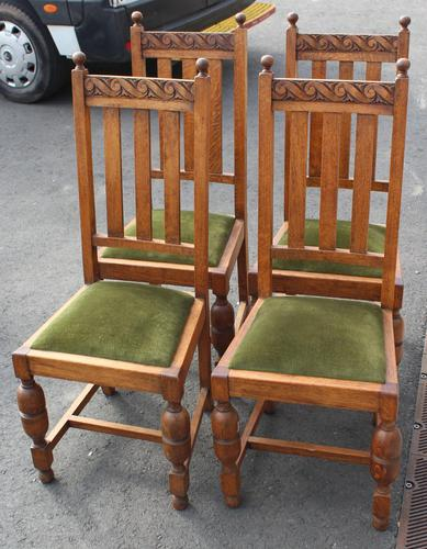 1940's Set 4 Light Oak Highback Chairs with Pop out Seats (1 of 3)