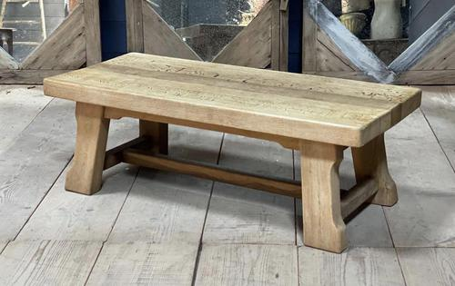 French or Scandinavian Bleached Oak Coffee Table (1 of 15)