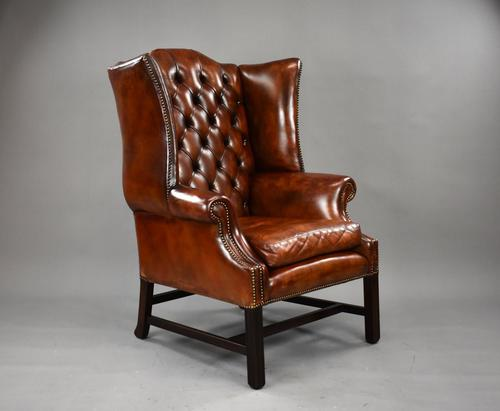 George II Style Brown Leather Hand Dyed Wingback Armchair (1 of 17)