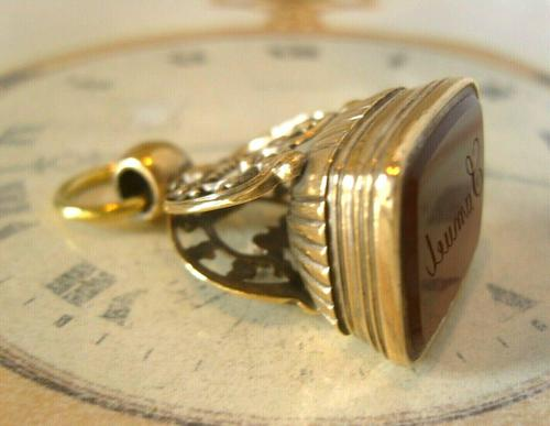 Antique Pocket Watch Chain Fob 1890s Victorian Large Gilt & Carnelian Samuel Fob (1 of 12)