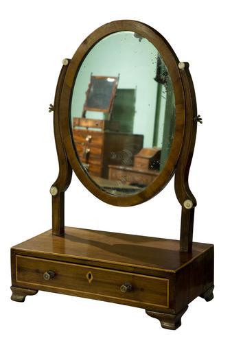 19th Century Mahogany Oval Dressing Table Mirror (1 of 6)