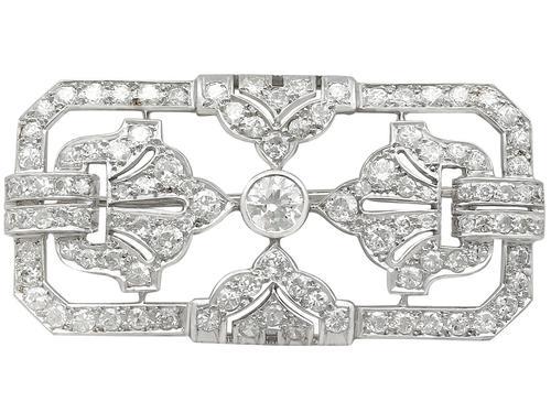 4.53ct Diamond & Platinum Brooch - Art Deco - French c.1930 (1 of 9)