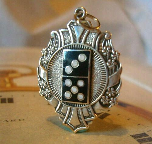 Antique Pocket Watch Chain Gaming Fob 1910 Art Nouveau Large Silver Nickel Dominos Fob Nos (1 of 8)