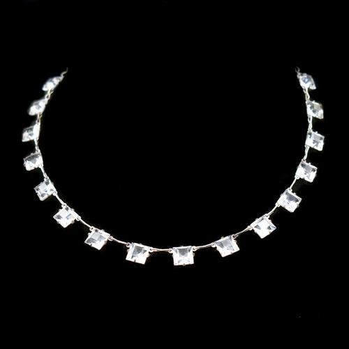 Art Deco Princess Cut Paste Sterling Silver Riviere Short Necklace (1 of 9)