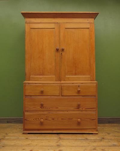 Antique Welsh Country Pine Linen Press Wardrobe in 2 Parts (1 of 17)