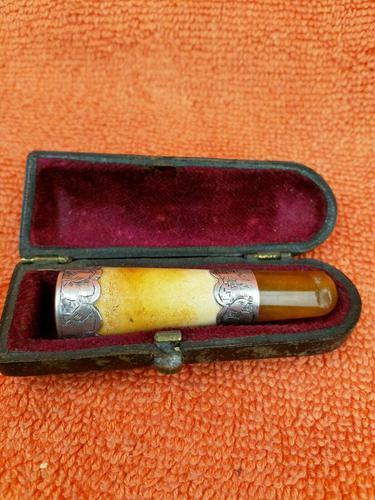 Antique Sterling Silver Hallmarked Meerschaum & Amber Cheroot Holder 1891 Louis Blumfeld, Birmingham (1 of 8)