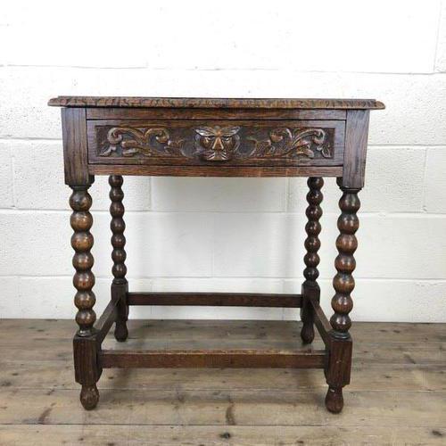Antique Oak Carved Green Man Side Table (1 of 10)