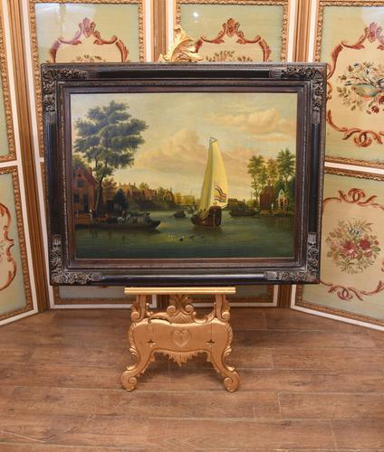 Pair Antique Dutch Oil Paintings Boat Scenes Riverscape 1860 (1 of 12)