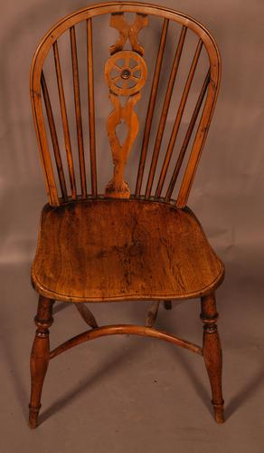 Single Wheel Back Kitchen Windsor Chair in Yew Wood (1 of 6)