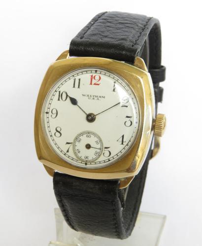 Gents 9ct Gold Waltham Wrist Watch, 1930 (1 of 5)
