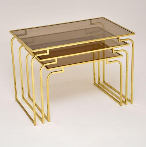 1970's Vintage Italian Brass & Glass Nest of 3 Tables (1 of 10)