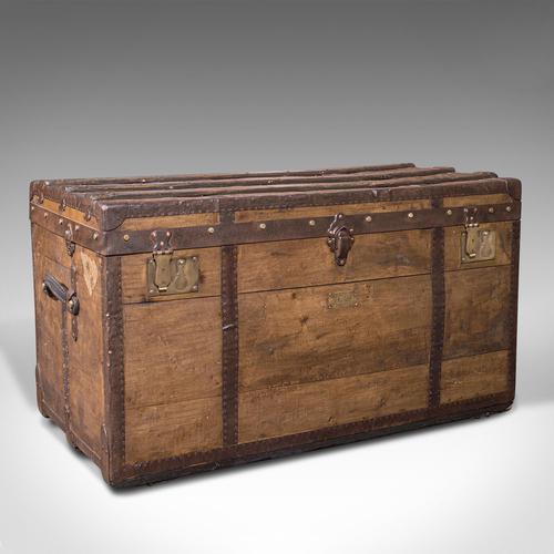 Large Antique Steamer Trunk, English, Pine, Travel, Shipping Chest, Victorian (1 of 12)