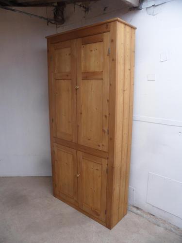 English Victorian Waxed Antique Pine 4 Door Kitchen Storage Cupboard (1 of 12)