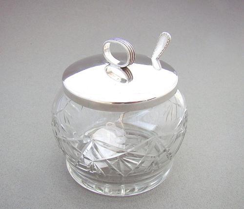 George V Silver & Cut Glass Preserve Jar by Hukin & Heath, Birmingham 1933 (1 of 6)