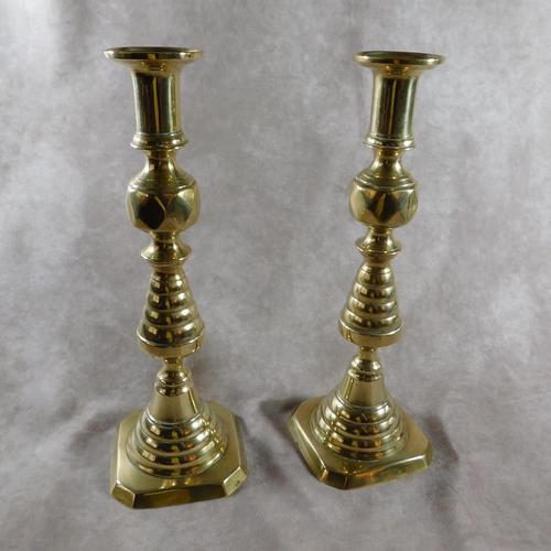 Pair of 19th Century Victorian Brass Candlesticks (1 of 5)