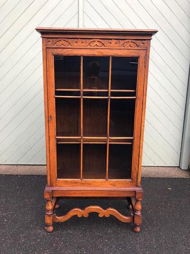 Antique Slim Glazed Oak Bookcase (1 of 11)