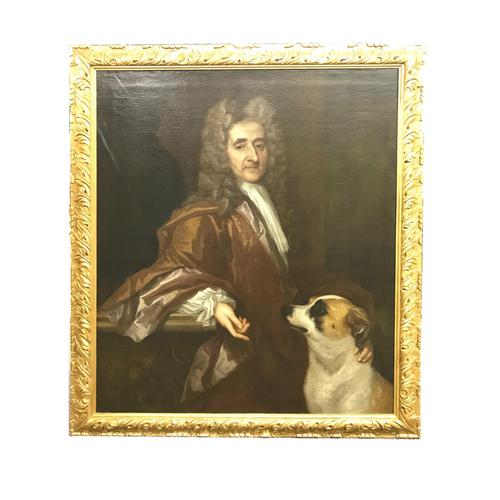 'Portrait of a Gentleman and a dog' by Circle of Sir Peter Lely 17th Century (1 of 4)