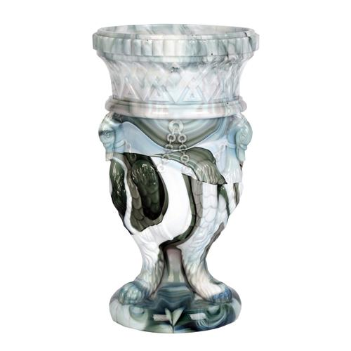 Sowerby / Edward Moore Marbled Slag Glass Gryphon Vase c.1880 (1 of 16)
