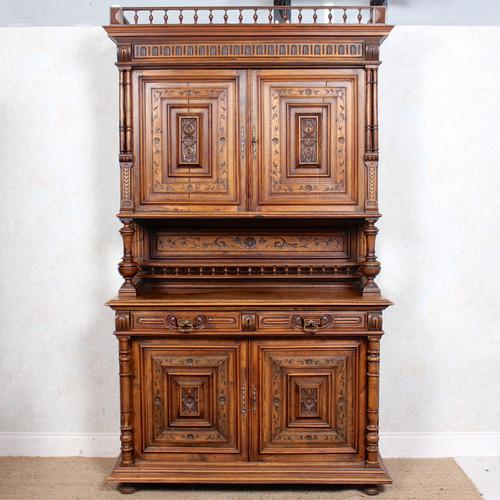 Large German Carved Walnut Bookcase Cabinet 19th Century (1 of 14)