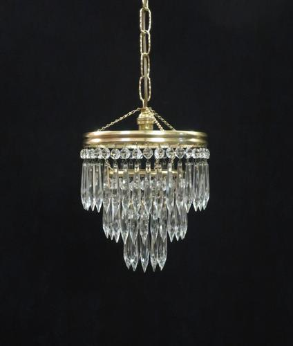 Italian Art Deco Three Tier Crystal Glass Chandelier, 1930s (1 of 6)